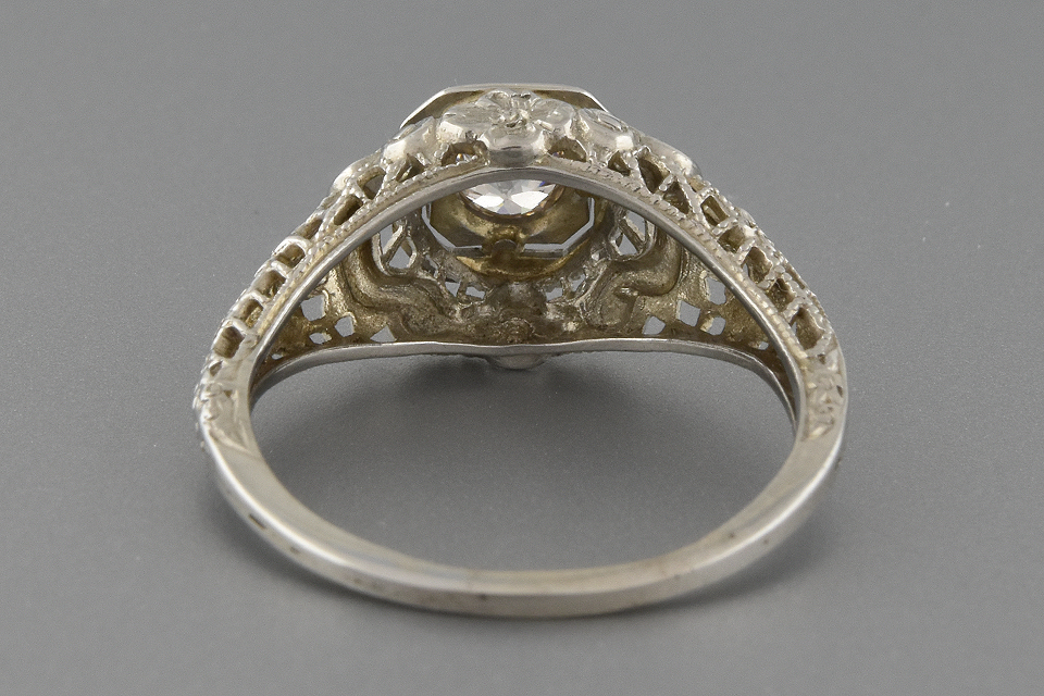 Item #2398 Vintage Filigree Diamond Engagement Ring