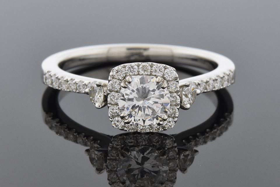Item #6179 Diamond Halo Engagement Ring with Subtle Details 6179