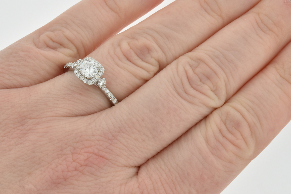 Item #6179 Diamond Halo Engagement Ring with Subtle Details