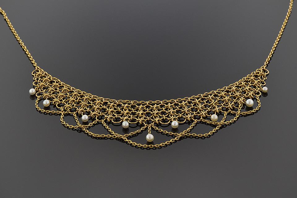 Item #4409 Victorian Pearl Bib Necklace 4409