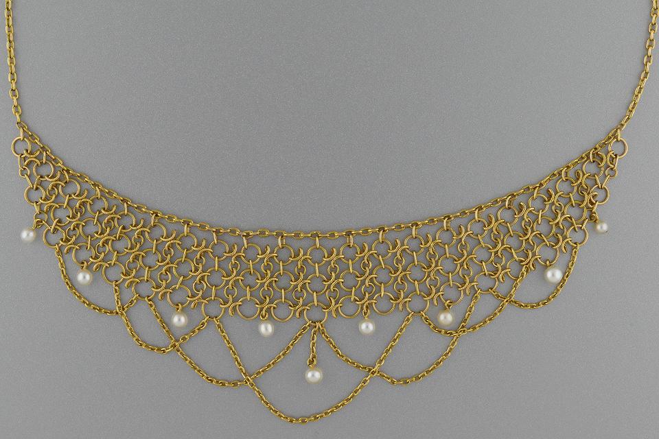 Item #4409 Victorian Pearl Bib Necklace