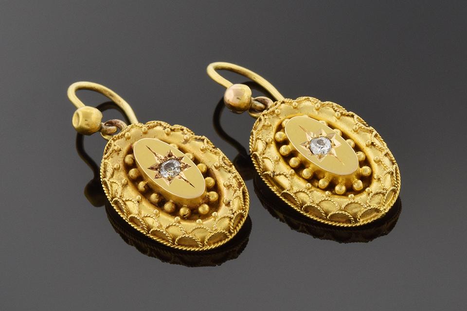 Item #1612 Etruscan Revival Diamond Dangle Earrings 1612