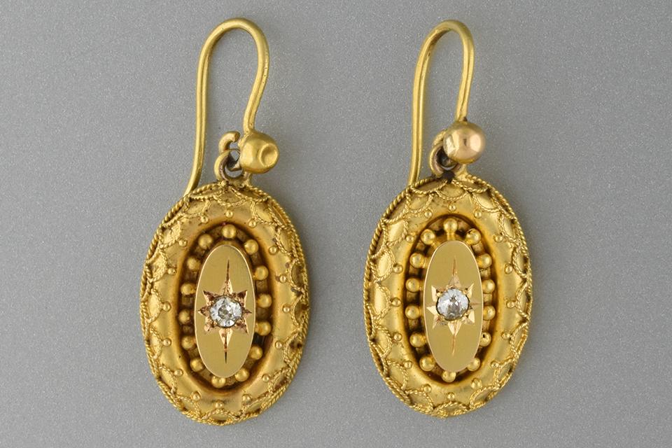 Item #1612 Etruscan Revival Diamond Dangle Earrings