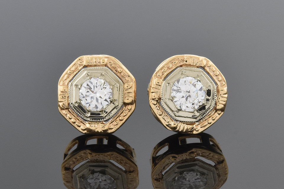 Item #2404 Mid Century Diamond Octagon Shape Earrings 2404