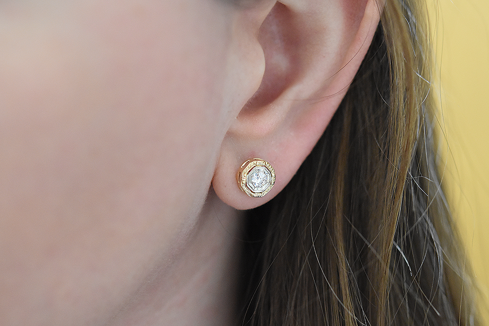 Item #2404 Mid Century Diamond Octagon Shape Earrings