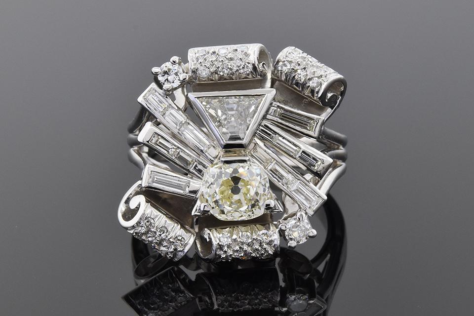 Item #4966 Vintage Free Form Diamond Statement Ring 4966