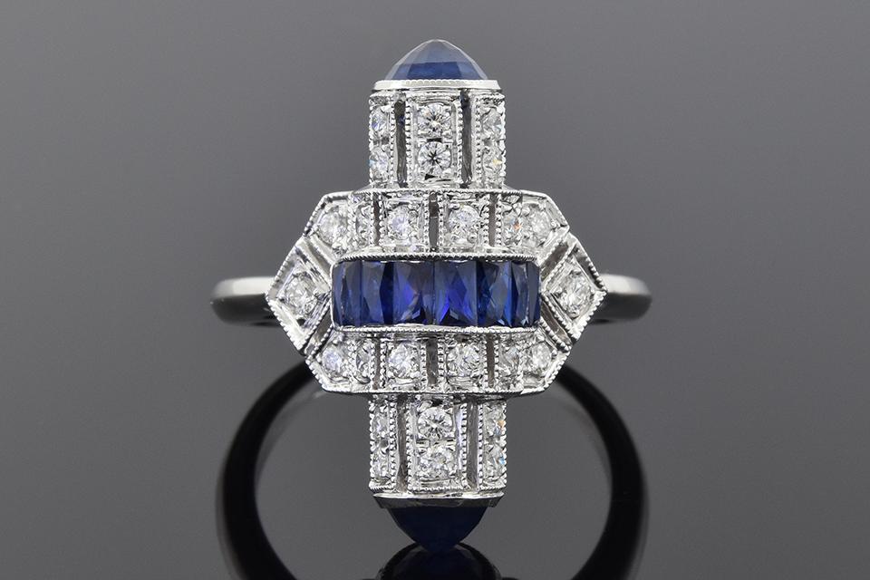 Item #5185 Art Deco Inspired Sapphire and Diamond Ring