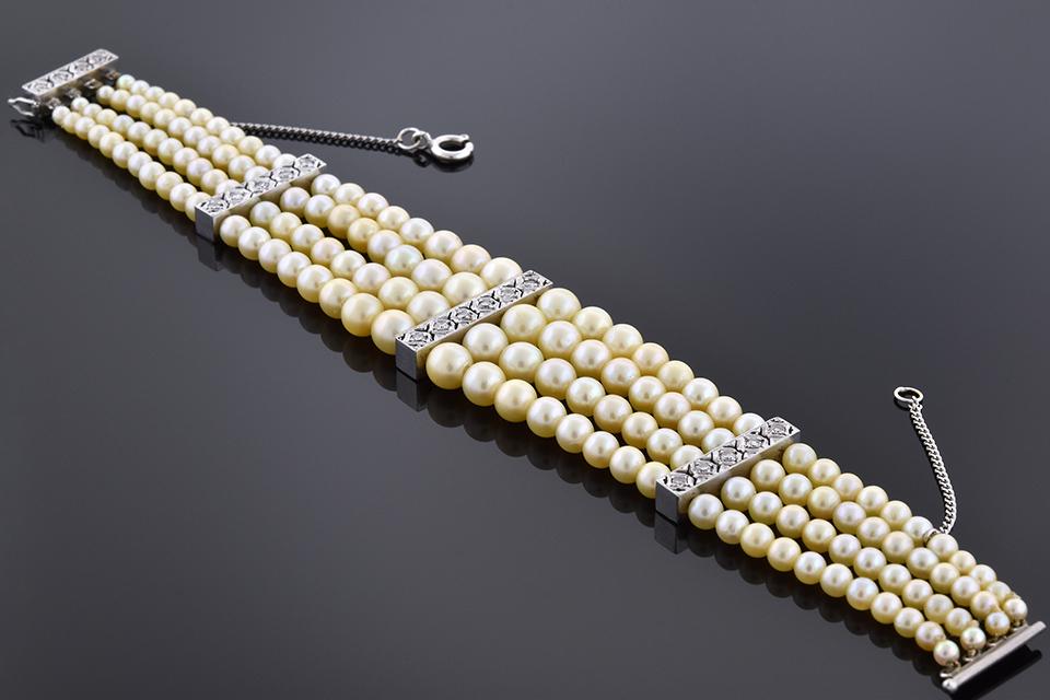 Item #6316 Vintage Multi Strand Pearl and Diamond Bracelet