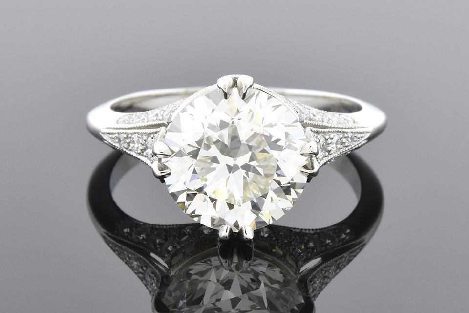 Item #5540 French Made 3.19 Carat Diamond Engagement Ring