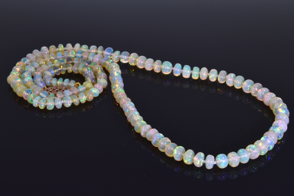 Item #1709 Strand of Vibrant Crystal Opal Roundel Beads 1709