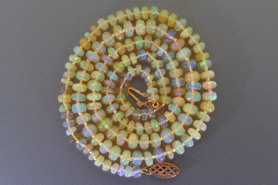 Item #1709 Strand of Vibrant Crystal Opal Roundel Beads