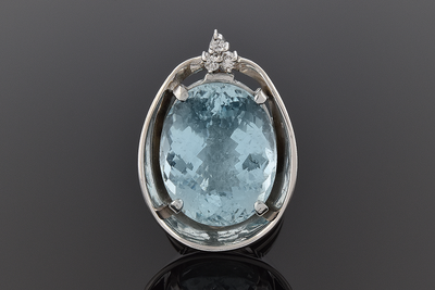 Handmade Aquamarine and Diamond Statement Ring