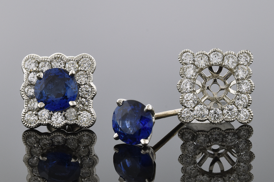 Sapphire Stud Earrings with Scalloped Diamond Jackets