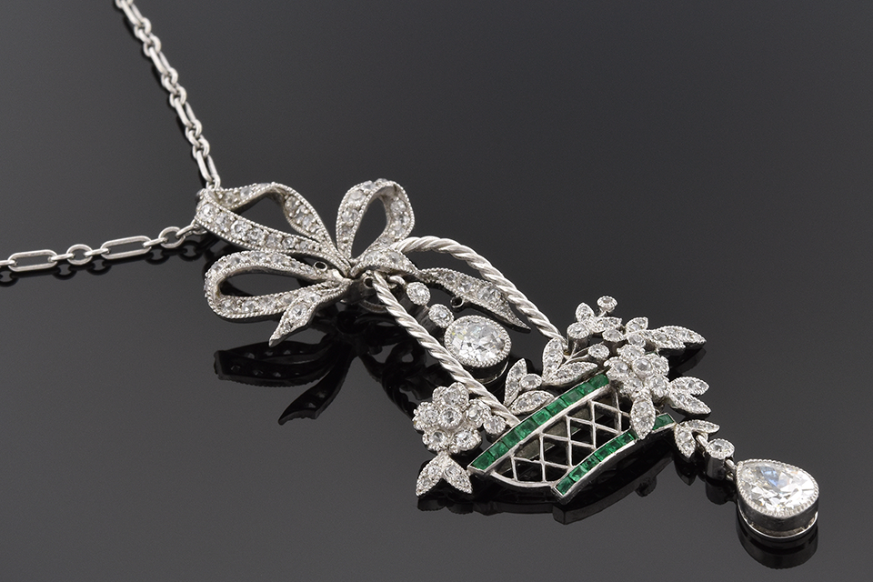 Item #5735 Articulated Edwardian Diamond and Emerald Necklace 5735