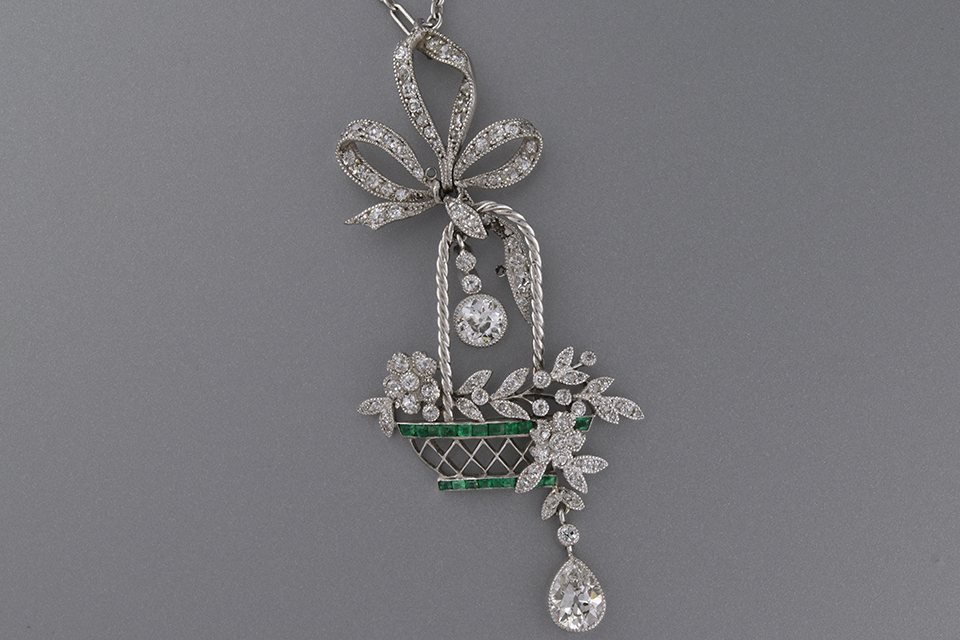 Item #5735 Articulated Edwardian Diamond and Emerald Necklace