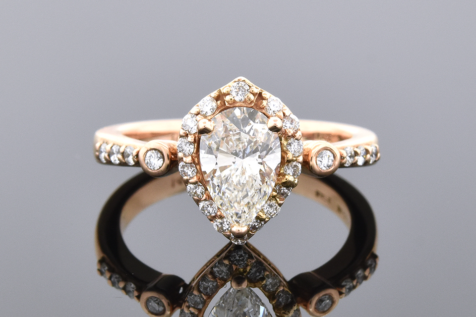 Item #6569 Pear Shape Diamond Halo Engagement Ring in Rose Gold 6569