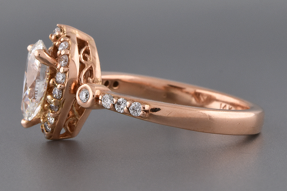 Item #6569 Pear Shape Diamond Halo Engagement Ring in Rose Gold
