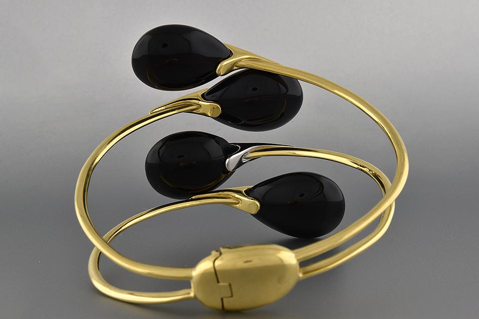 Item #6516 Bold Onyx Bypass Bracelet