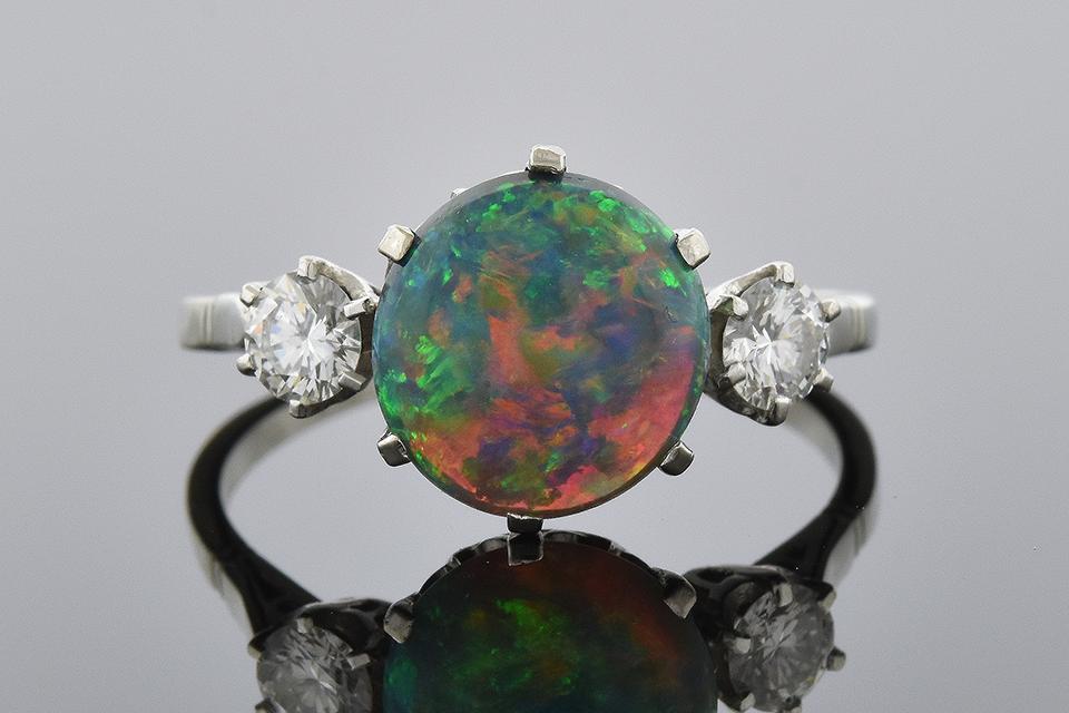 Item #6506 Vibrant Black Opal and Diamond Three Stone Ring 00001