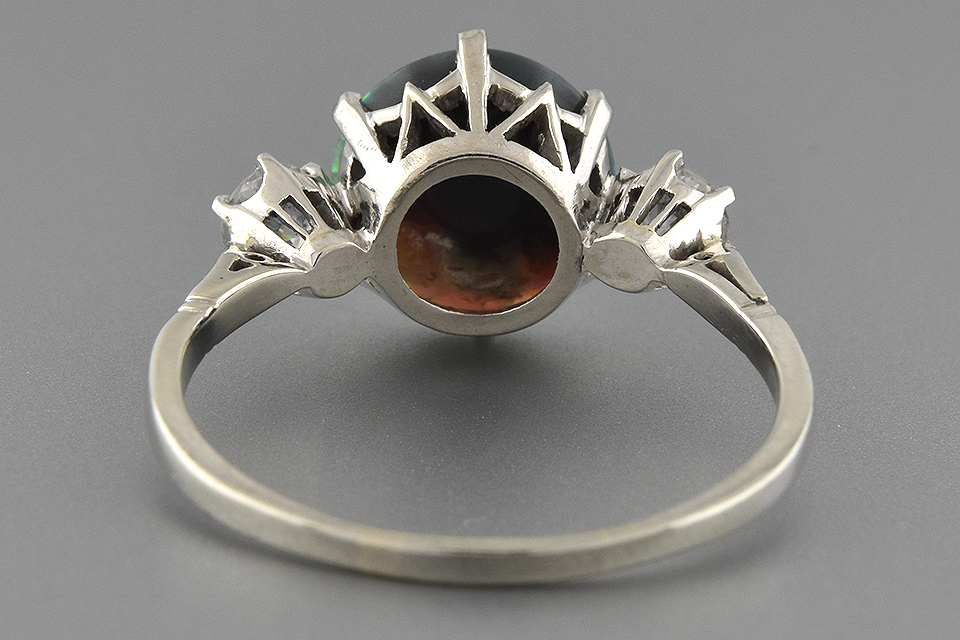 Item #6506 Vibrant Black Opal and Diamond Three Stone Ring