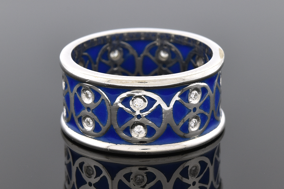 Item #2053 Plique-A-Jour Enamel and Diamond Band 2053