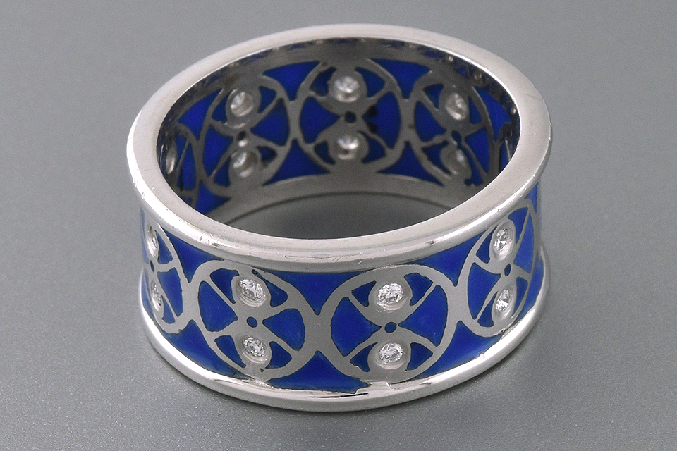 Item #2053 Plique-A-Jour Enamel and Diamond Band