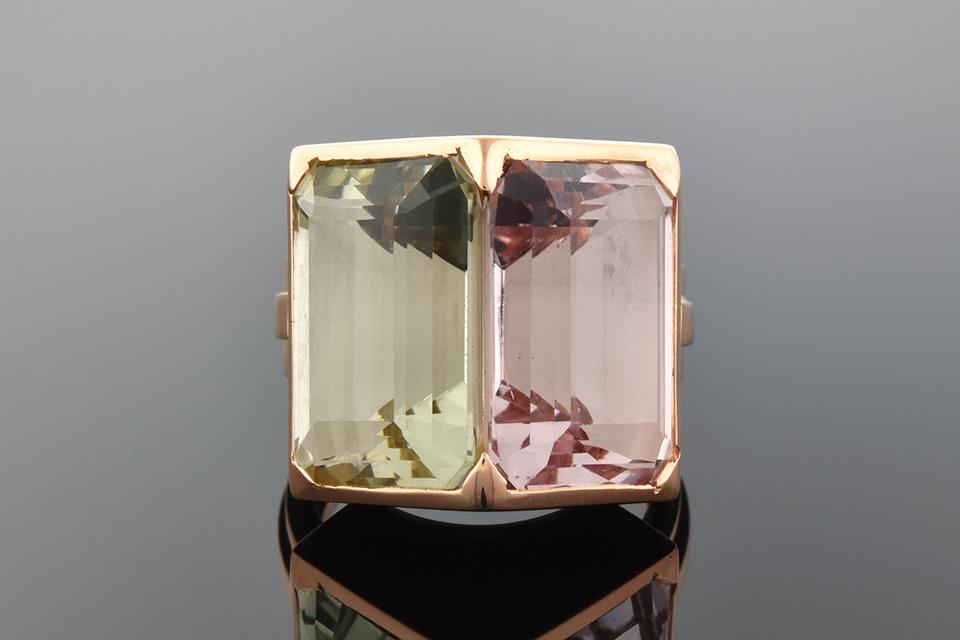 Pink Kunzite and Green Beryl Ring from the Estate of Tamara Toumanova