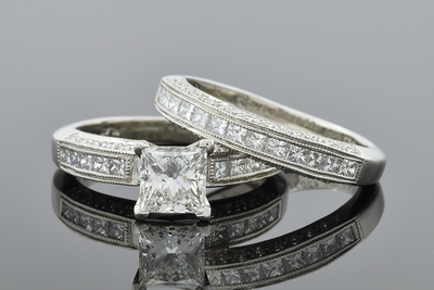 Item #6537 Princess Cut Diamond Engagement Ring in a Classic Design
