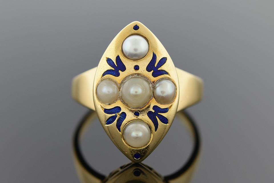 Item #2501 Bold Art Nouveau Ring with Blue Enamel 2501