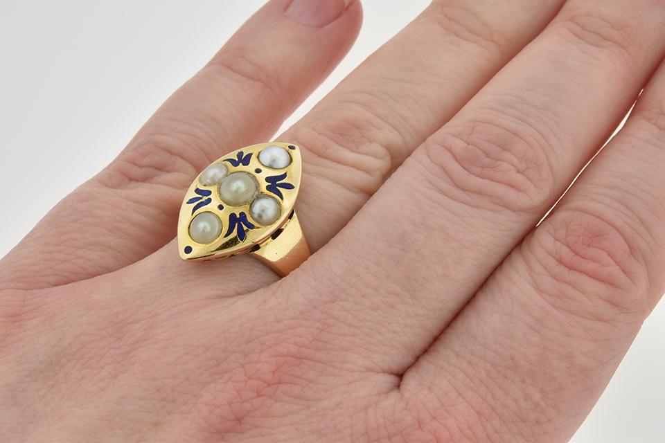 Item #2501 Bold Art Nouveau Ring with Blue Enamel