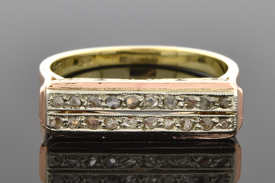 Item #2500 Mid-century Rose Cut Diamond Band with Openwork Design 2500