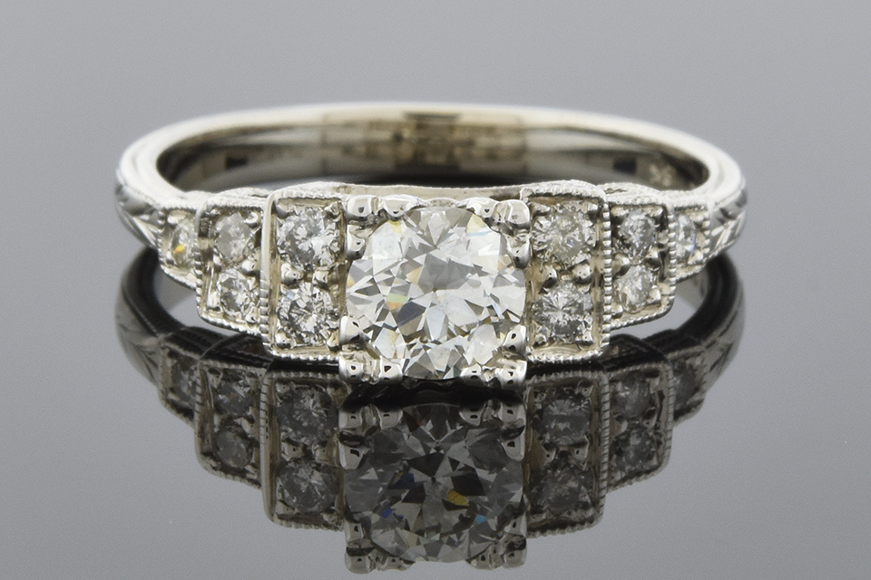 Item #5846 Hand Engraved Vintage Diamond Engagement Ring 5846