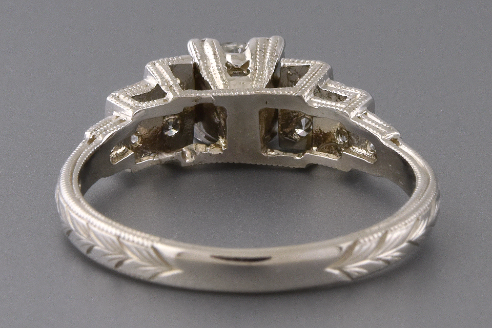 Item #5846 Hand Engraved Vintage Diamond Engagement Ring