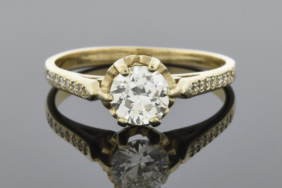 Item #5837 Vintage Buttercup Setting Diamond Engagement Ring 5837