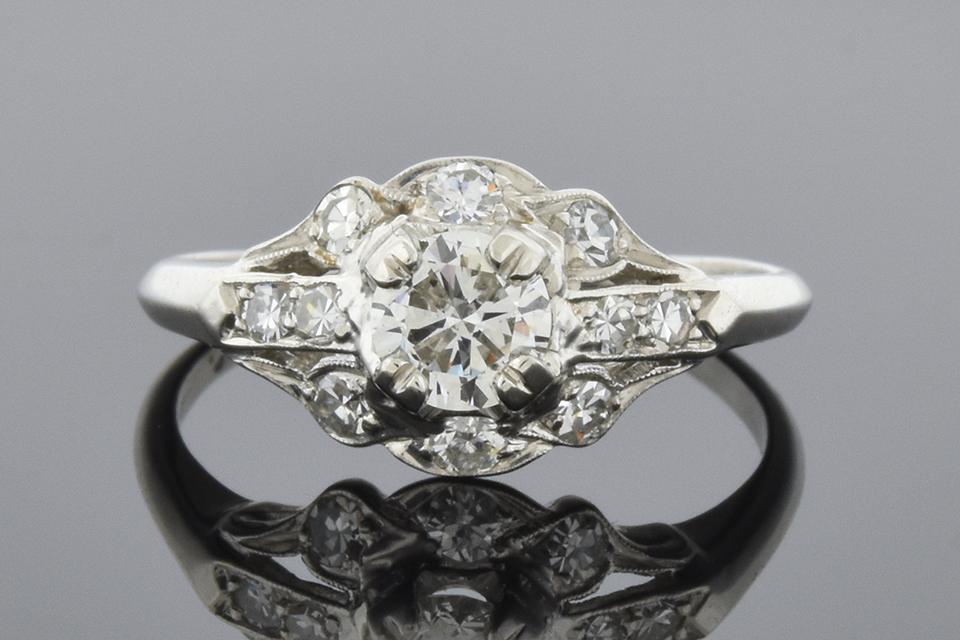 Item #6593 Art Deco Diamond Ring with Subtle Scallop Design 6593