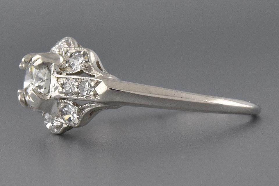 Item #6593 Art Deco Diamond Ring with Subtle Scallop Design