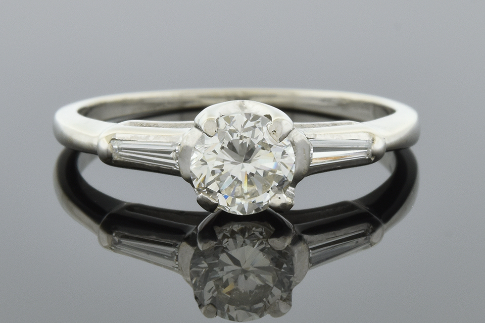 Item #5836 Classic Engagement Ring with a Baguette on Either Side 5836