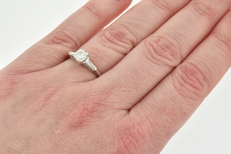 Item #5836 Classic Engagement Ring with a Baguette on Either Side