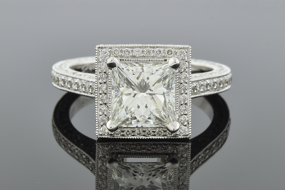 Item #6660 Impressive 2.01 Carat Princess Cut Diamond Engagement Ring 00002