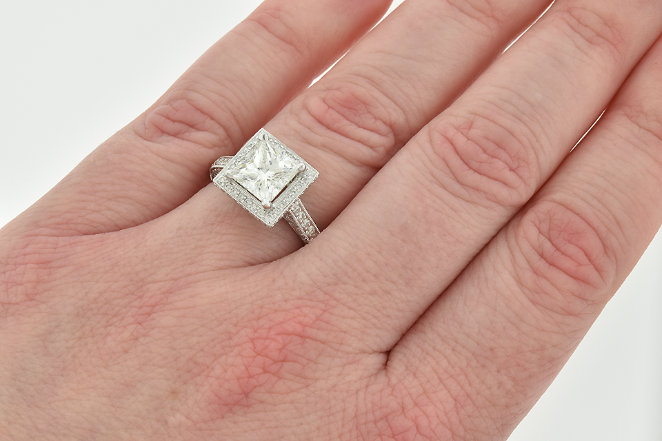 Item #6660 Impressive 2.01 Carat Princess Cut Diamond Engagement Ring