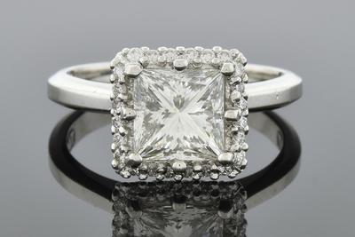 Item #6661 Remarkable 1.76 Carat Princess Cut Diamond Engagement Ring by Tacori