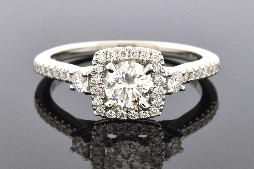 Item #6309 Square Diamond Halo Engagement Ring 6309