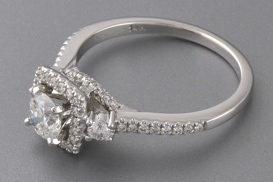 Item #6309 Square Diamond Halo Engagement Ring