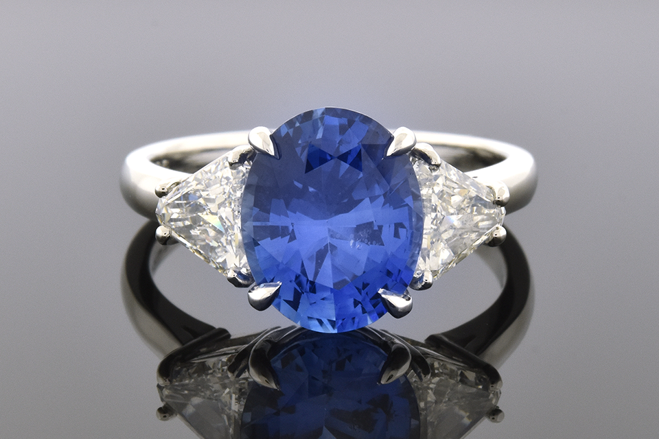Item #6344 Handmade Ceylon Sapphire and Diamond Three Stone Ring 6344