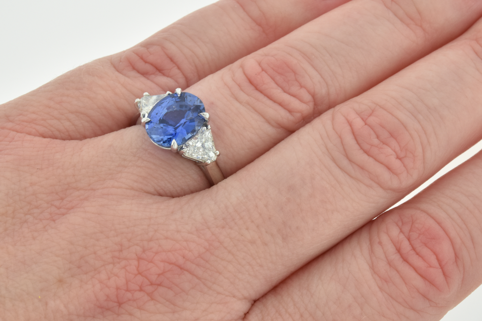 Handmade Ceylon Sapphire and Diamond Three Stone Ring