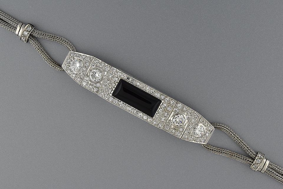 Item # 5639 Onyx and Diamond Conversion Watch Bracelet