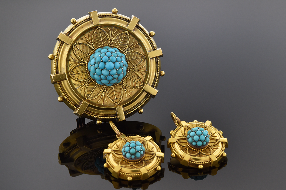 Item #4920 Etruscan Design Turquoise Earring and Brooch Suite