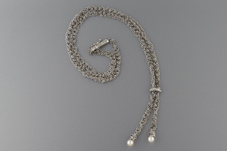 Item #2539 Diamond and Pearl Mesh Chain Necklace