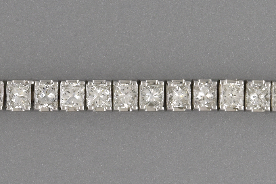 Item #6814 Princess Cut Diamond Line Bracelet