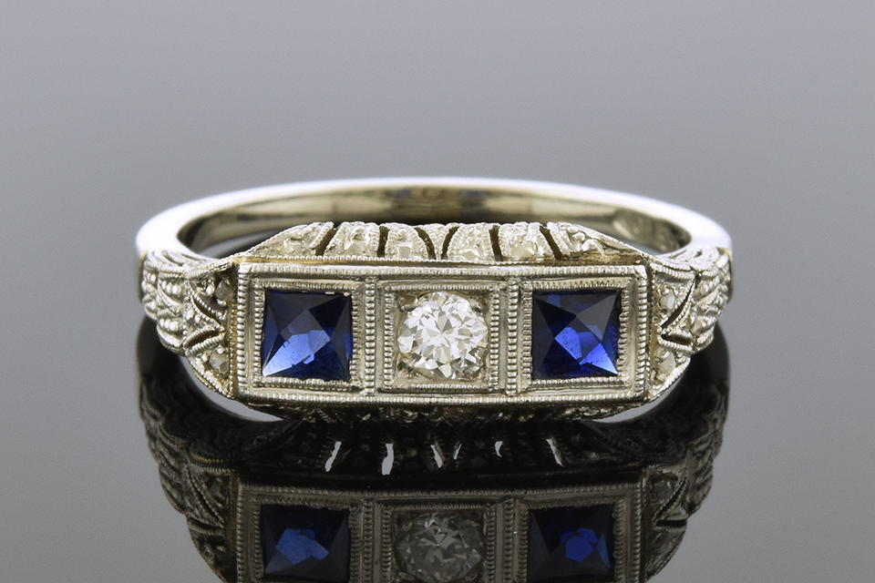 Item #2553 Three Stone Art Deco Ring with Remarkable Filigree 2553